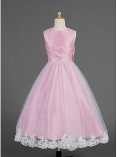 Flower Girl Dresses - $128.99 - A-Line/Princess Scoop Neck Ankle-Length Taffeta Tulle Flower Girl Dress With Lace Bow(s)  http://www.dressfirst.com/A-Line-Princess-Scoop-Neck-Ankle-Length-Taffeta-Tulle-Flower-Girl-Dress-With-Lace-Bow-S-010014621-g14621