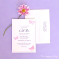 Watercolor Butterfly Pink and Purple Baby Shower Invitations by ECRU Stationery & Design