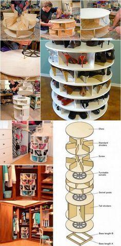 DIY Furniture Plans & Tutorials : How To Build A Lazy Susan Shoe Rack shoes diy craft closet crafts diy ideas diy