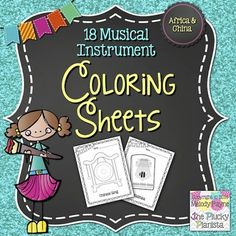 18 Musical Instrument Coloring Pages {Instruments of China  Africa}