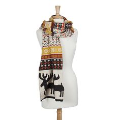 Beautiful Winter Inspired Knit Scarf with a Moose Pattern
