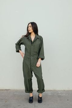 80a3428c0ce2 Vintage flight suit Military jumpsuit Olive green coveralls Workwear jumpsuit  Mens cotton coveralls Womens coveralls