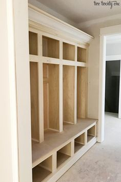 A tour of our mudroom complete with built-in lockers with cubbies and a board and batten wall. We store coats, shoes, and other items here. Mudroom Cubbies, Mudroom Laundry Room, Home Renovation, Home Remodeling, Built In Lockers, Built Ins, New Homes, Bootroom, Breezeway