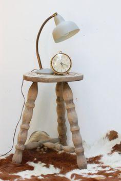 Tabouret vintage en bois brut table de par Frenchvintagecharm