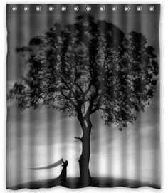 Black Tree Shower Curtain
