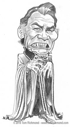 Better late than never this week… here's another Dracula sketch: Jack Palance, from the 1974 TV movie. As always, the original is available in the Studio Store. Horror Movie Characters, Horror Films, Horror Art, Funny Caricatures, Celebrity Caricatures, Dracula Cartoon, Hollywood Monsters, Jack Palance, Evil Dead