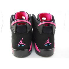 Air Jordan Retro 6 GS Black/Pink Flash-Marina Blue ❤ liked on Polyvore