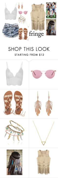 """Festival Trend: Fringe!"" by anabelalba95 ❤ liked on Polyvore featuring Runwaydreamz, Oliver Peoples, Billabong, Annette Ferdinandsen, Wanderlust + Co, Justin Bieber and Chicnova Fashion"