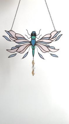 Great gift for dragonfly lovers. Crystal Dragonfly Sun Catcher Car Hanger 3 crystals on top