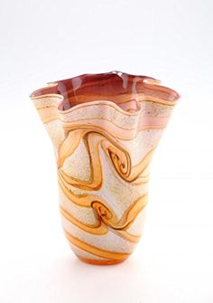 New Hand Blown Glass Art Vase Brown Amber White Handkerchief Ruffle Blown Glass Art, Bud Vases, Urn, Fashion Art, Amber, Glass Vase, Sculptures, Style, Diamond