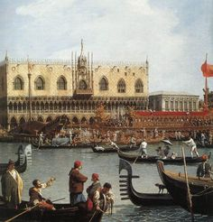 Return of the Bucentoro to the Molo on Ascension Day (detail) by CANALETTO #art