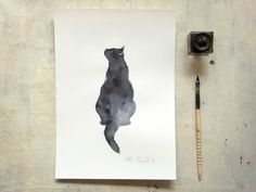 black cat portrait original  ink painting  - animal art - wall art - gift for cat lovers by vumap on Etsy