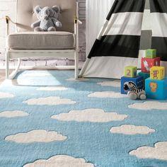 Viv + Rae Lily Cloudy Sachiko Hand-Tufted Blue Area Rug | Wayfair Kids Area Rugs, Blue Area Rugs, Pink And Blue Rug, Clouds Pattern, Nursery Rugs, Orange Rugs, Cool Rugs, Rugs Online
