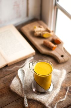 Recette Golden Milk Extracteur de jus Kevin's Sorbets, Golden Milk, Pudding, Tableware, Kitchen, Desserts, Food, Gold Milk, Art Periods