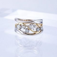 This Floral Moissanite Engagement Ring Set Two Tone Gold Flower Rings Unique Moissanite Engagement Rings is just one of the custom, handmade pieces you'll find in our bridal sets shops. Platinum Jewelry, Diamond Jewelry, Jewelry Rings, Gold Jewellery, Silver Jewelry, Women's Rings, Antique Diamond Rings, Jewellery Shops, Platinum Ring