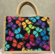Small Tote bag made from designer printed cotton and hessian,