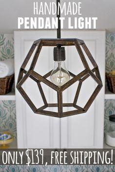 Handmade faceted pendant light