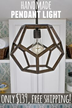 Handmade faceted pendant light! Ten percent of proceeds go to charity. #Dodecahedron #Lighting