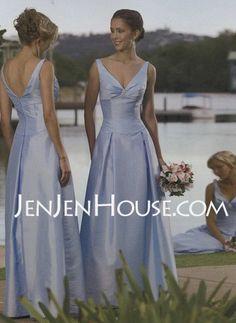 Bridesmaid Dresses  A-Line/Princess V-neck Floor-Length Taffeta Bridesmaid Dresses With Ruffle (007001105) http://jenjenhouse.com/A-line-Princess-V-neck-Floor-length-Taffeta-Bridesmaid-Dresses-With-Ruffle-007001105-g1105