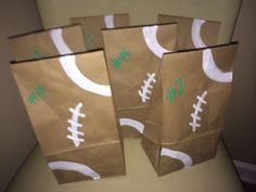Football Goodie Bags- write their # on it Football Goody Bags, Football Treats, Football Cheer, Football Birthday, Flag Football, Goodie Bags, Football Season, Football Favors, Football Stuff