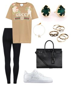 """Untitled #382"" by maram267 ❤ liked on Polyvore featuring Gucci, NIKE, Yves Saint Laurent, Latelita and Kendra Scott"