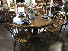 HHF 1410 7PC Stoops High Harvest Trestle Table and Six Chairs