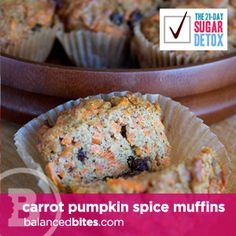 Paleo Carrot Pumpkin Spice muffins Sweetend w/ bananas so the kids can eat them for breakfast! Great Paleo treat that uses eggs and coconut flour. Paleo Sweets, Paleo Dessert, Dessert Recipes, Healthier Desserts, Healthy Meals, 21 Day Sugar Detox, Sugar Detox Recipes, Paleo Postre, Pumpkin Spice Muffins