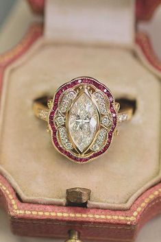 Engagement Rings : Picture Description 33 Sophisticated Vintage Engagement Rings To Prove Your Love ❤️ vintage engagement rings marquise cut diamond halo Wedding Rings Vintage, Vintage Engagement Rings, Vintage Rings, Vintage Diamond Rings, Engagement Jewelry, Art Deco Ring, Art Deco Jewelry, Fine Jewelry, Jewelry Ideas