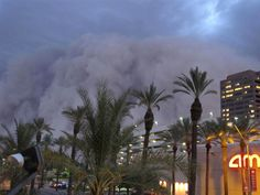 "A monstrous dust storm known as a haboob roars through Phoenix on July 5, 2011. Haboob is an Arabic word meaning ""blasting"" or ""drafting,"" and it refers to an intense storm that pushes a wall of dust in front of it."