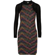 M Missoni Knitted cotton-blend mini dress ($358) ❤ liked on Polyvore featuring dresses, black, black mesh insert dress, black mini dress, multi color dress, short black dresses and black mesh panel dress