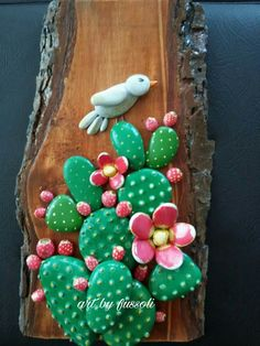 Pebble art driftwood art pebble collage wall decor pebble flowers made to order – Artofit Pebble Painting, Pebble Art, Stone Painting, Cactus Painting, Rock Crafts, Cute Crafts, Diy And Crafts, Painted Rock Cactus, Hand Painted Rocks