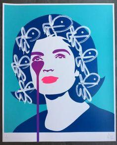 "Saatchi Art Artist Pure Evil; Portrait Printmaking, ""JFK's Nightmare - White Bunny Tag Hair - Limited Edition 1 of 1"" #art"