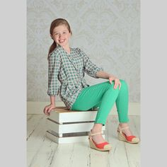 Shop Betwixt - A Tween Boutique in the US; Diamond Self-Tie Tunic Top paired with Betwixt Emperial Premium Stretch Denim Jeans
