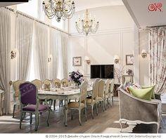 Обеденная зона в интерьере гостиной-столовой в доме  http://www.ok-interiordesign.ru/blog/dizayn-gostinoy-stolovoy-v-dome-2.html