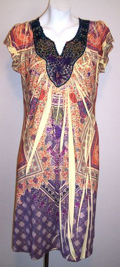 Apt 9 Dress L Stretch Jersey Knit Rhinestone Sublimated Boho Hippie Sundress L #Apt9 #Sundress #Casual