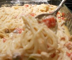 This is my FAVORITE recipe ever  everyone always loves it- it also lasts for a couple days * tastes even better day two! Chicken Spaghetti You need only seven ingredients: angel hair pasta, chicken (grilled or canned), cream of chicken and cream of mushroom soup, Rotel, sour cream and cheese.
