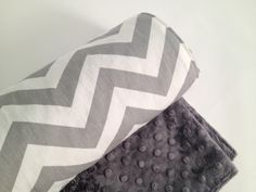 Baby Blanket, Grey and White Cheveron, Grey Charcoal Minky. $35.00, via Etsy.