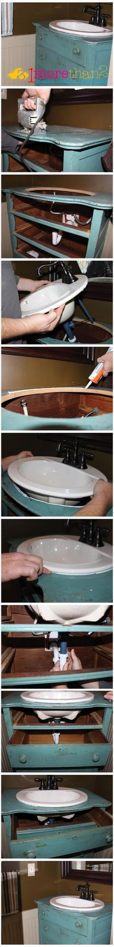 oud kastje wordt wastafel