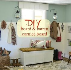 An ugly window from drab to fab with a  wooden board and batten cornice board {tutorial} via http://fourgenerationsoneroof.com