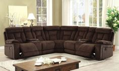 """3 pc Maybell collection transitional style brown chenille fabric upholstery sectional sofa with recliners.  This set includes the 2 love seats with consoles and recliners and corner wedge.  Measure 111"""" x 111"""" x 40 1/2"""" .  Some assembly required."""