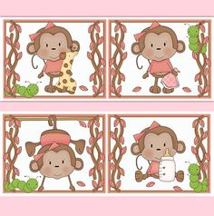 monkey wallpaper border wall decals for baby girl pink safari animal nursery or childrens jungle bedroom. Interior Design Ideas. Home Design Ideas