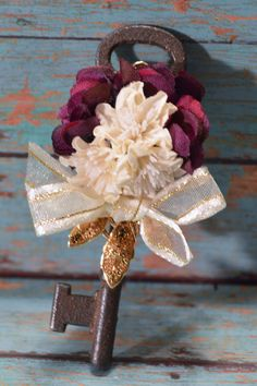Vintage Skeleton Key Boutonniere with Ivory Gold by ForeverBouquet