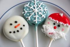 Christmas Oreo Pops    Ingredients  1 package (16.6 Oz. Size) Double Stuffed Oreos  1-½ bag (14 Oz. Size) Candy Melts Or White Chocolate  3 cups Powdered Sugar  ¼ cups Egg Whites  ½ teaspoons Cream Of Tartar  1 package (4 Oz. Variety Package) Food Coloring    Preparation Instructions  You will also need 30 lollipop sticks and waxed paper. This m