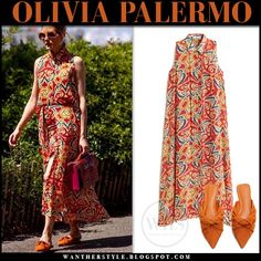 Olivia Palermo in red orange printed sleeveless long dress and orange mules in New York on June 7 2019 Olivia Palermo Outfit, Olivia Palermo Style, Summer Chic, Spring Summer, Long Shirt Dress, Spring Outfits, Outfit Summer, Celebrity Style, Street Style