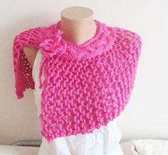 Hand Knit Shoulder Shawl in Fuschia  Wedding Spring by earflaphats, $40.00