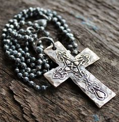Solid Bronze Rustic Mens Cross Necklace - On Dark Sterling Silver Chain   2 Sisters Handcrafted