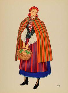1939 Polish Folk Costume Woman Opoczno Poland Litho (via periodpaper, ebay)