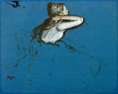"""Edgar Degas (1834-1917) - """"Danseuse assise, tournée vers la droite"""" - Huile sur papier, papier bleu, peinture à l'essence, pinceau (dessin) - http://www.photo.rmn.fr/C.aspx?VP3=SearchResult&VBID=2CO5PCDYZRZRZ&SMLS=1&RW=1366&RH=604#/SearchResult&VBID=2CO5PCDYZRZRZ&SMLS=1&RW=1366&RH=604&PN=4"""