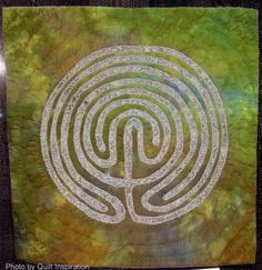 """Labyrinth, 13 x 13"""", by Sarah Ann Smith.  2013 Houston IQF auction, photo by Quilt Inspiration"""