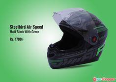 #Helmet Steelbird Air Speed Matt Black With Green #Bikers #Racers Order now from www.yooshopper.com.